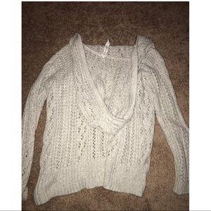 Bethany Mota Sweaters - Oversized Zip-up Hooded Cardigan